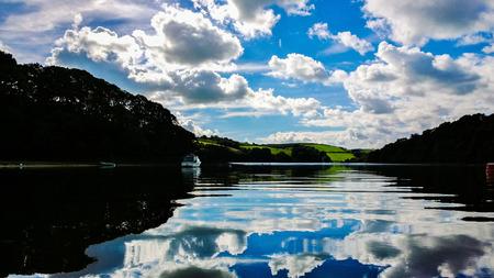 estuary: 2013 Dartmouth estuary, Devon UK lovely sky and reflections on the dart estuary, totnes dartmouth devon uk