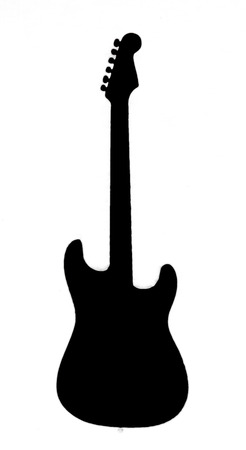Black guitar outline shown on a white background Stock fotó