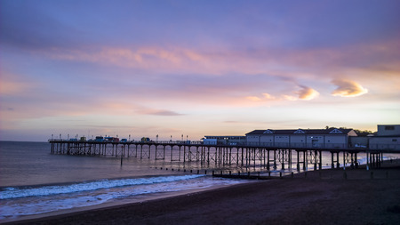 red sky: Teignmouth pier at sunset, with a red sky