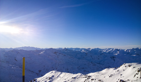 confortable: Val Thorens, France -  January  12, 2015: Showing a view of the mountain at Val Thorens Ski Resort