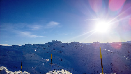 confortable:  Showing a view of the mountain at Val Thorens Ski Resort Stock Photo