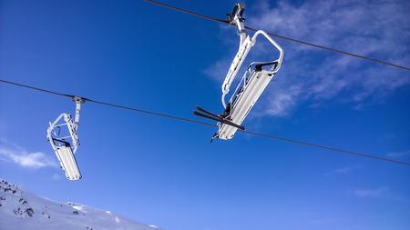 water skiers: Showing a chair lift at Val Thorens Ski Resort