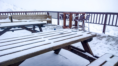 winter escape: Showing a table at the Val Thorens Ski Resort