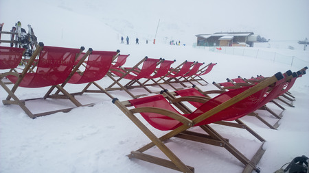 water skiers: Val Thorens, France -  January  16, 2015: Showing some deckchairs at the Val Thorens Ski Resort Editorial