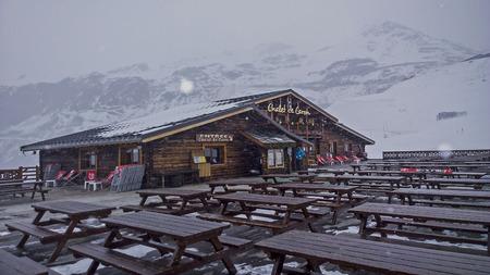 Val Thorens, France -  January  16, 2015: Showing restuarant chalet at Val Thorens Ski Resort