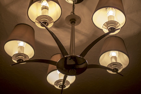 shinning light: lamp shades shown in a hotel cealing