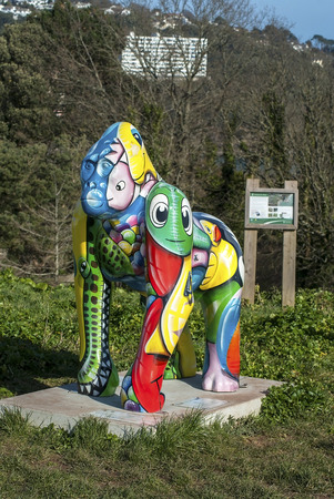lilo: Daddyhole plain, Torquay, Devon, UK - 5 March 2015, Showing a gorilla statue names Lilo as part of the Great Gorillas project, a scheme to raise awarenes, art work by Damien Jeffery.