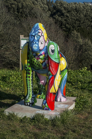 gorillas: Daddyhole plain, Torquay, Devon, UK - 5 March 2015, Showing a gorilla statue names Lilo as part of the Great Gorillas project, a scheme to raise awarenes, art work by Damien Jeffery.
