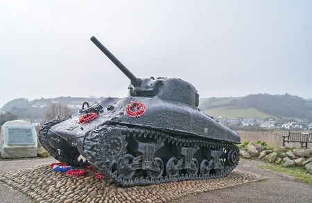 world war 2: Slapton sands, Slapton, Devon, UK - 11 March 2015, Showing a world war 2 sherman tank, that was used during operation tiger before the D day landings. Editorial
