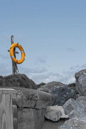 granit: floatation device on a beach in devon UK Stock Photo