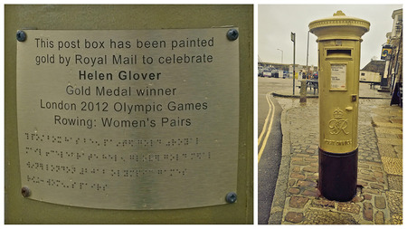 royal mail: Penzance, Cornwall, UK - January 22 2015, Showing a royal mail letterbox painted gold in honour of Helen Glover winning a gold medal at the London olympic games in 2012