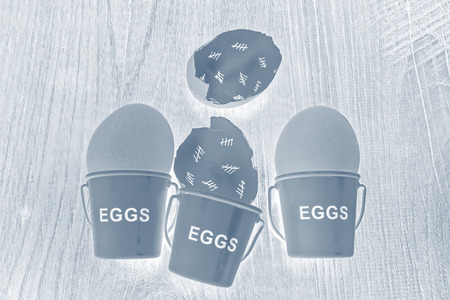 egg cups: Egg shells with egg cups shown lying with on a wooden with marks inside counting down the days till hatching,
