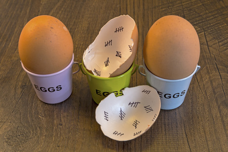 days gone by: Egg shells with egg cups shown lying with on a wooden with marks inside counting down the days till hatching,