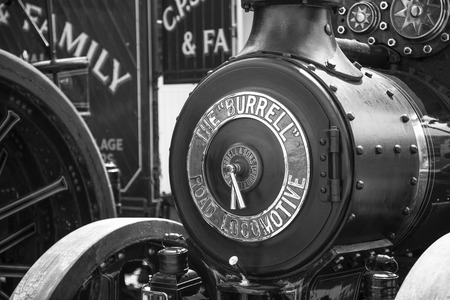 traction: Wadebridge Cornwall UK June 6 2015  Old fashioned Steam powered traction engine