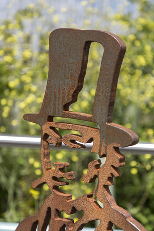 abbot: Newton abbot Devon UK 3 JUNE 2015  Showing a steel sculpture of Isambard Kingdom Brunel in the who brought the South Devon Railway to Newton Abbot in 1846.