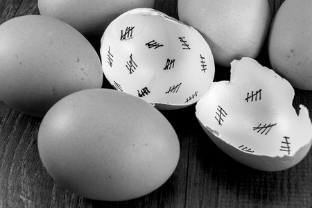 days gone by: Egg shells shown lying on a wooden background with marks inside counting down the days till hatching, Stock Photo