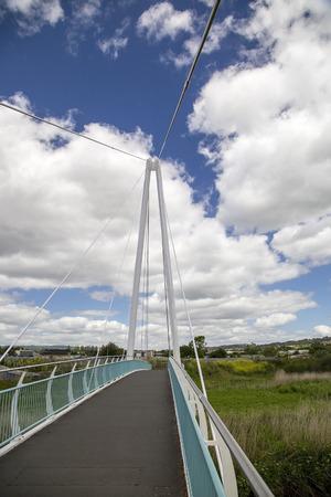 pedestrian bridge: Pedestrian bridge with a blue sky  Stock Photo