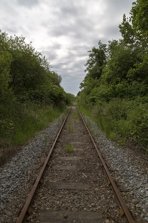 joins: Old unused railway track in devon UK Stock Photo