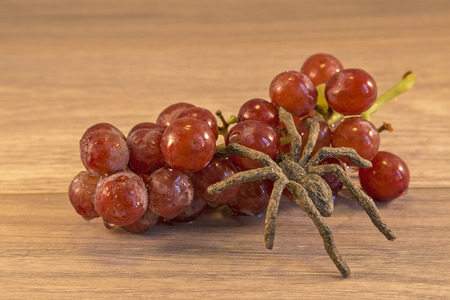 insectiside: Grapes lying on a wooden surface, with a spider crawing accross them