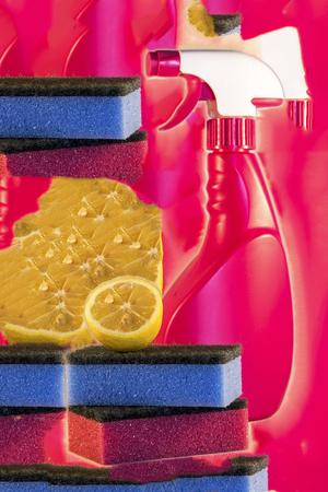 washup: Bottle, sponge and lemon