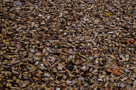 wood chip: Showing a wood chip floor for use as  background Stock Photo