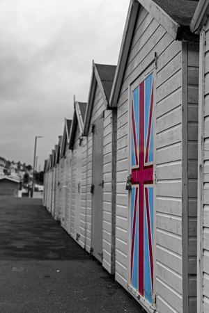 Paignton, Devon, UK, JULY 8 2015 - Showing beach huts on the Paignton seafront Editorial