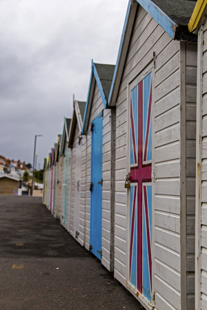 pitched roof: Paignton, Devon, UK, JULY 8 2015 - Showing beach huts on the Paignton seafront Editorial