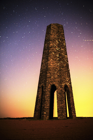 navigation aid: Kingswear, Devon, UK - May 21 2015, Showing the Daymark at night during a long exposure, the daymark is a navigation aid errected in 1864 to aid sailers into the estuary Stock Photo