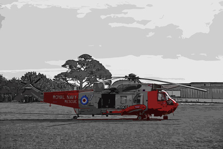 Teignmouth, Devon, UK 9 October 2015 - Showing a british red and grey royal navy MK5 Seaking RAF search and rescue helicopter