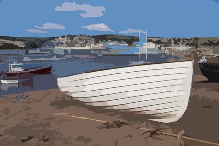estuary: Boats shown along the Teignmouth estuary in Devon UK