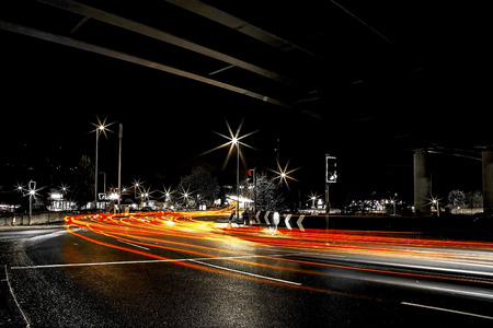 roundabout: Showing a long exposure of the roundabout  Stock Photo