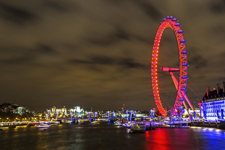 westminster city: Westminster, London, UK, December 16 2015 - Showing a City scape looking accross from Westminster bridge, with the London eye visable in on the right hand side, taken at night during a lond exposure, Cityscape utilising Freedom of Panorama