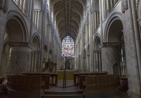 columb: Norwich, Northfolk, UK, March 30th 2016 - Showing the Norwich Cathedral catholic church, Showing the interior of the church which one of its grand halls Editorial