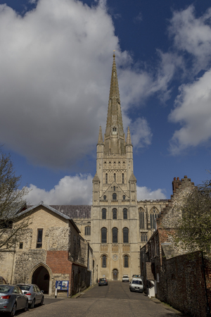 columb: Norwich, Northfolk, UK, March 30th 2016 - Showing the Norwich Cathedral catholic church, Showing the extior of the church on a sunny day in March 2016 Editorial