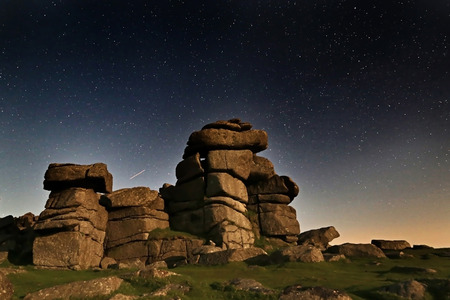 masonary: Various shots at Staple Tor on Dartmoor National Park at night with stars, in Devon UK