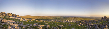 masonary: Great Staple Tor Panorama on Dartmoor National Park in Devon UK Stock Photo