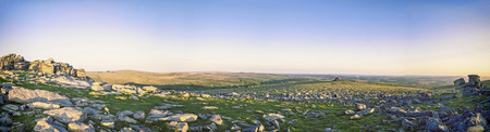 staple: Great Staple Tor Panorama on Dartmoor National Park in Devon UK Stock Photo