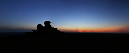 masonary: Various shots at Staple Tor on Dartmoor National Park at dusk, in Devon UK