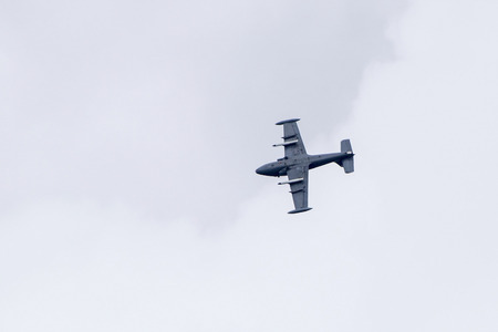 Torquay, Devon, UK, 12 June 2016 Showing various planes at the  air display at the Torquay airshow, shot from public land during an overcast day