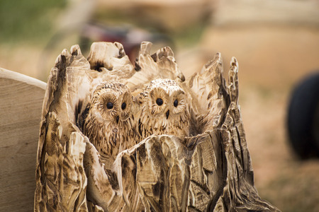 bark carving: Wadebridge, Cornwall, UK, June 11 2016 -Showing a carved owl made from a tree trunk, on display at a forestry demonstraion at an agricultural show Editorial