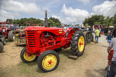 massy: Wadebridge, Cornwall, UK, June 11 2016 - Showing an old retro Massy Harris red agricultural tractor at a classice tractor show