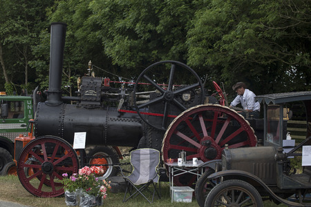 steam traction: Wadebridge, Cornwall, UK, June 11 2016 - Old fashioned Steam powered traction engine