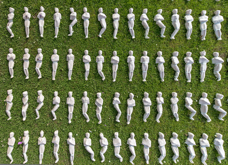 Exeter, Devon, UK, July 6 2016 - Showing an arists recreation and installation at a public park, symbolising the 19240 troops that died on the first day of the battle of the somme by creating 19240 individual, see http:www.thesomme19240.co.uk