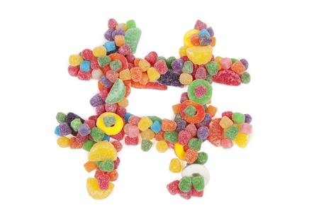 Hashtag Made of Colorful Candy