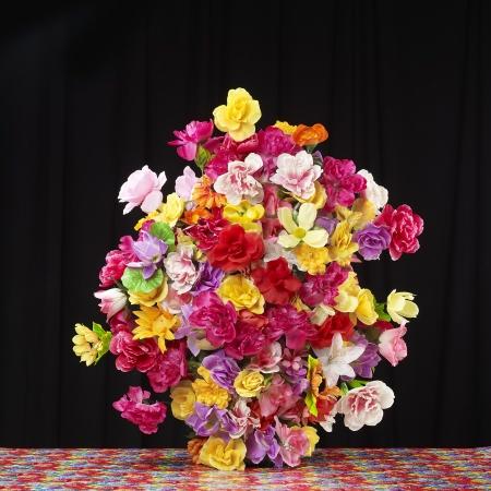 Big Flower Bouquet against Black Background
