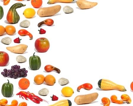 A collection of fall foods in a unique border shape against a background