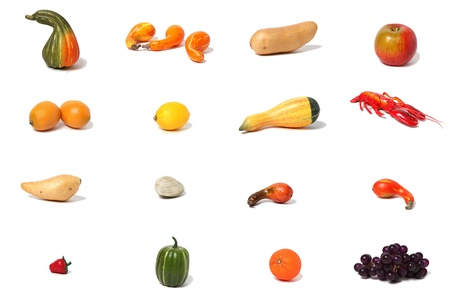A collection of autumn foods in a grid format against a white background  photo