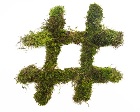 A hashtag symbol made from green moss  Banco de Imagens