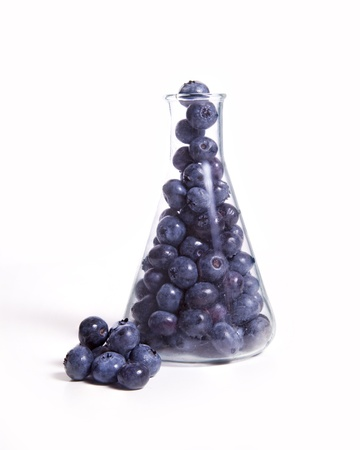 A science beaker full of blueberries against a white background. Zdjęcie Seryjne