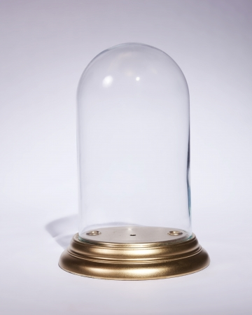 An empty doll dome case with a gold base